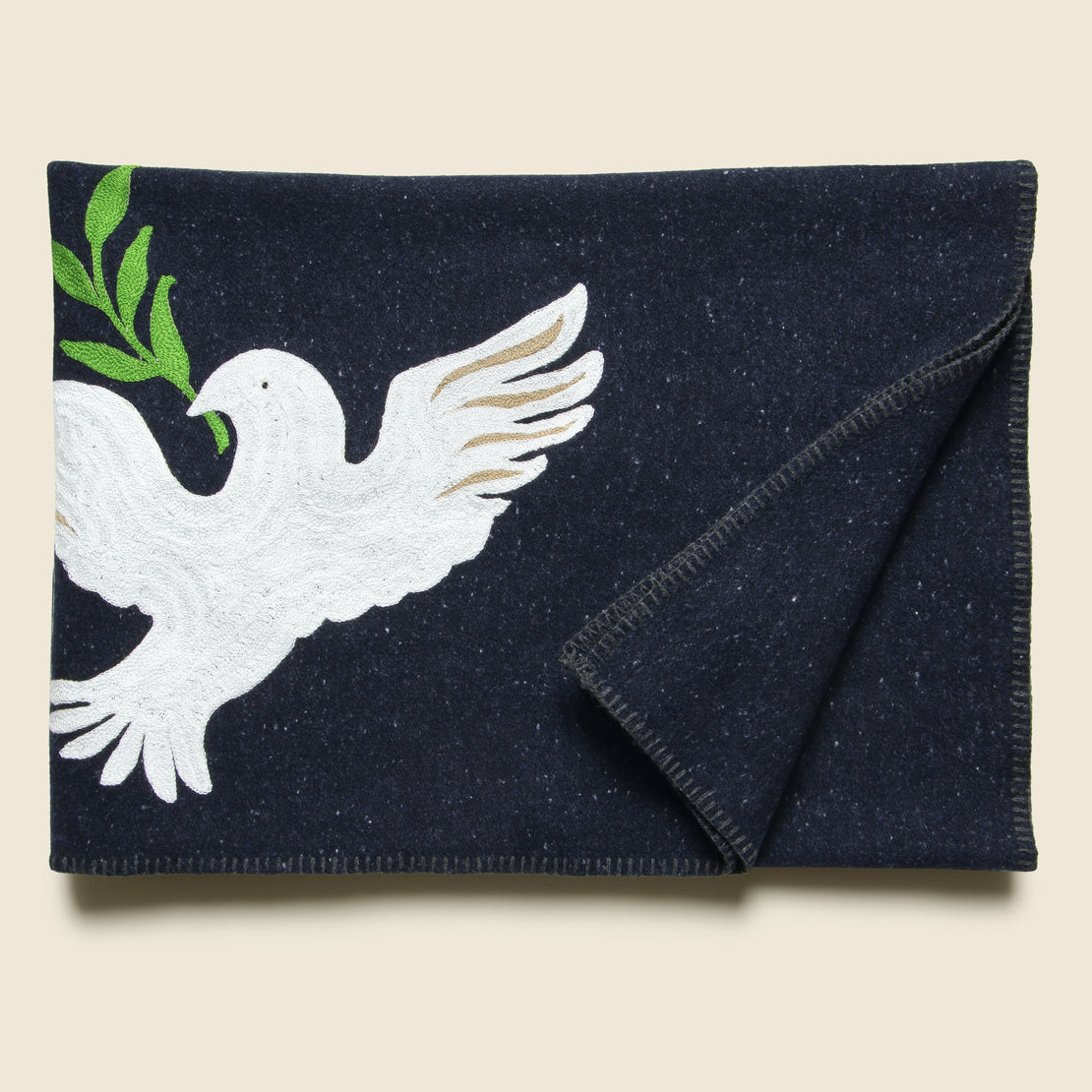 Peace Dove Small Utility Blanket - Navy
