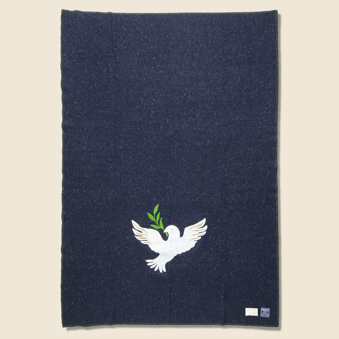 Fort Lonesome Peace Dove Small Utility Blanket - Navy
