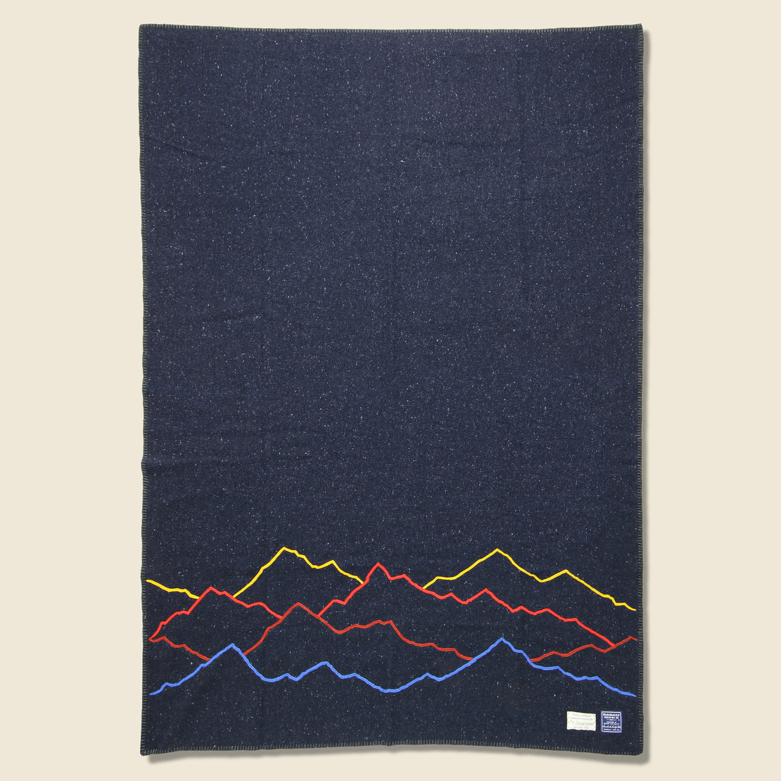 Fort Lonesome Mountain Landscape Small Utility Blanket - Navy