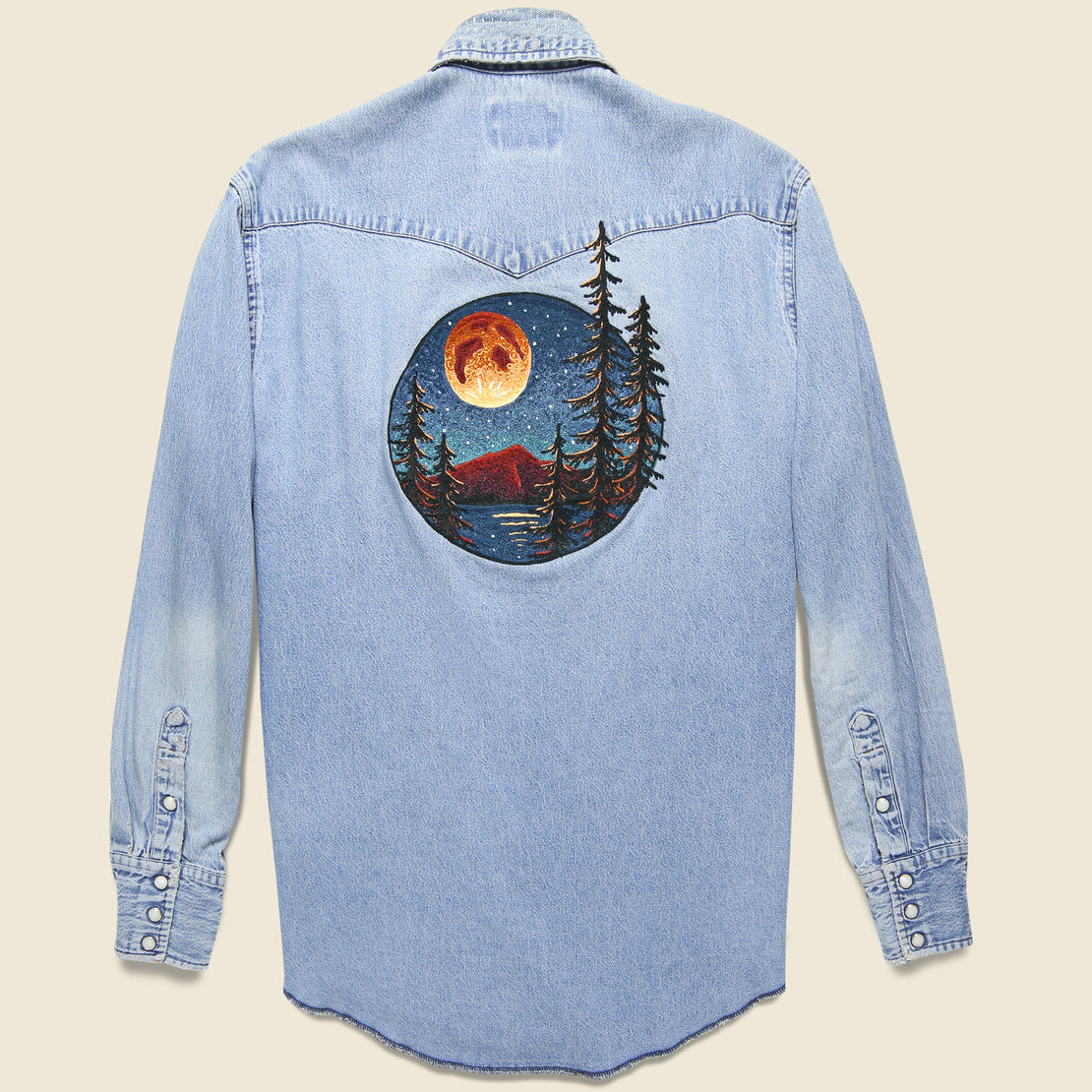Fort Lonesome Blood Moon Wrangler Denim Shirt - Brown