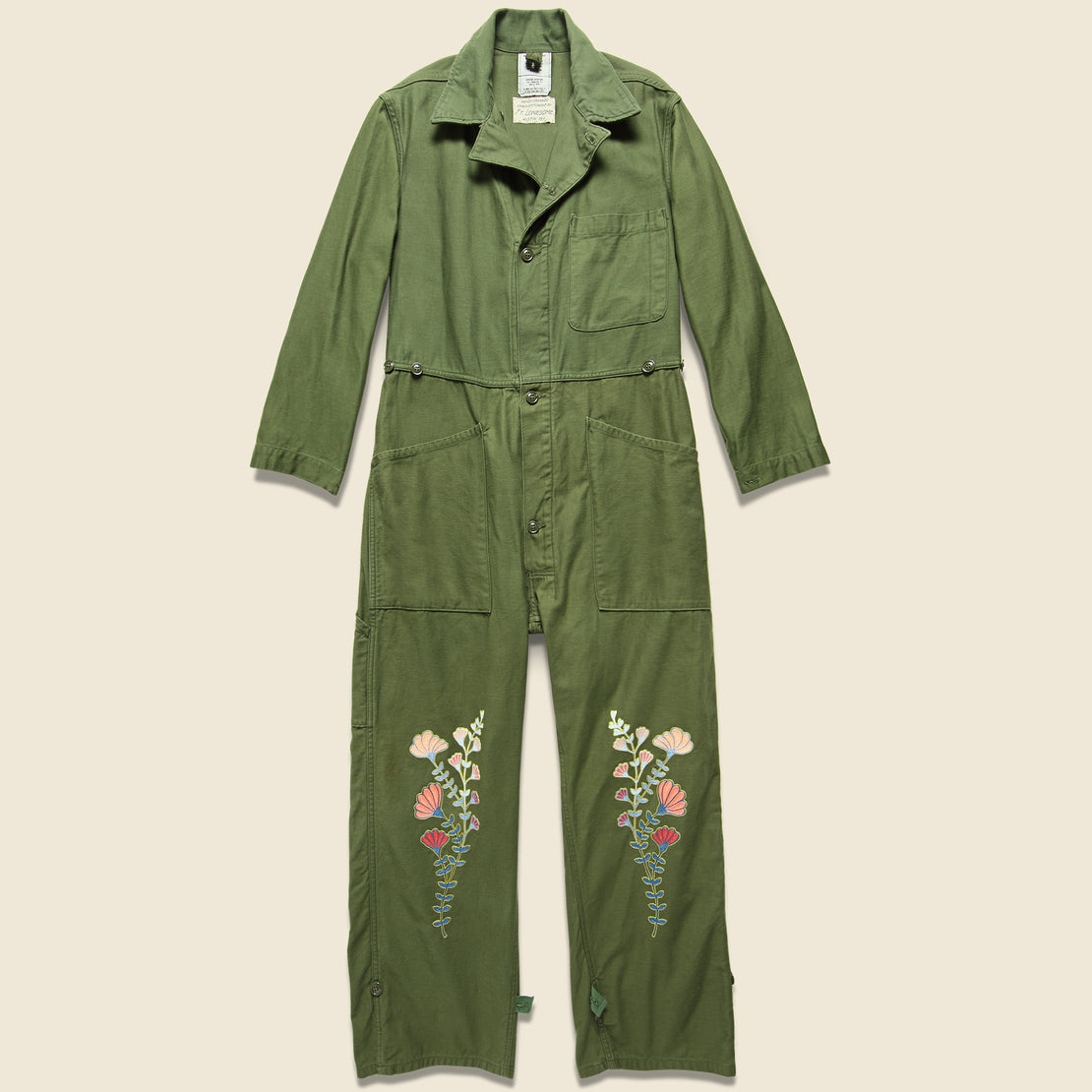 Fort Lonesome Floral Flourish Military Jumpsuit - Army Green