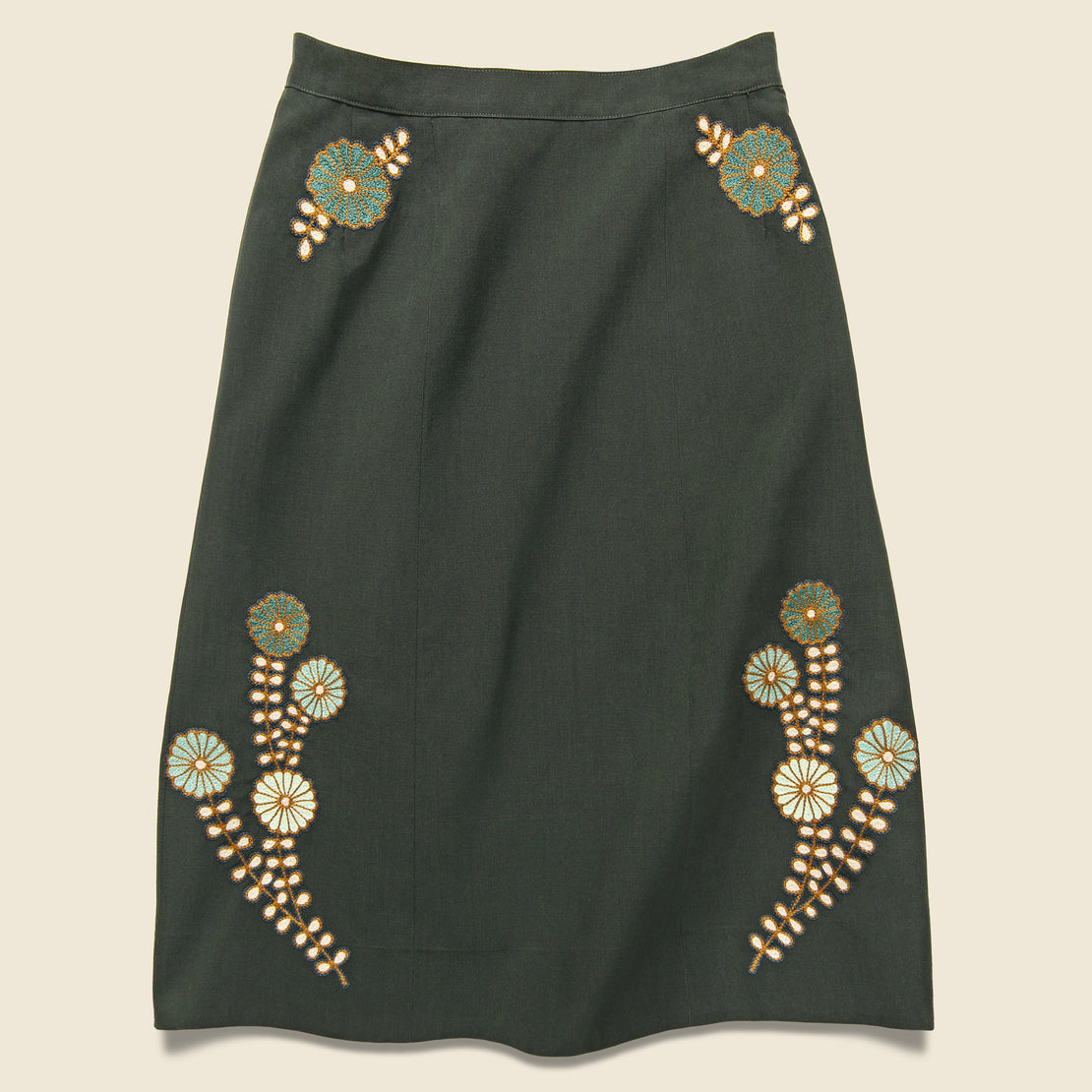 Fort Lonesome Squash Blossom Military Skirt - Army Green