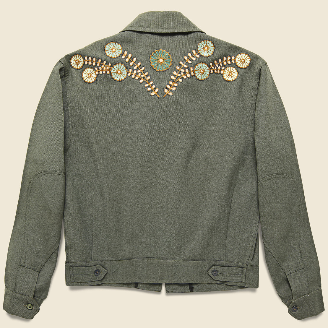 Fort Lonesome Squash Blossom Military Cropped Jacket - Sage Green