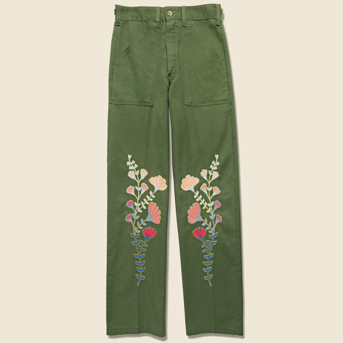 Fort Lonesome Floral Flourish Military Pant - Green