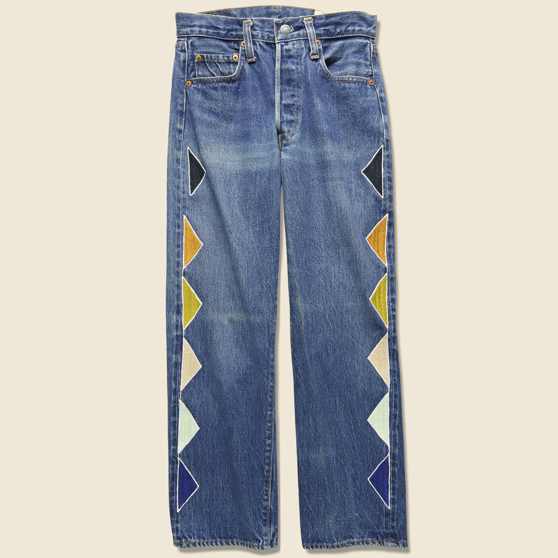 Ft Lonesome Triangle Pattern Levi's 501 Jean - Multi