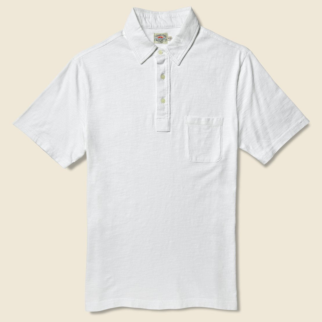Faherty Garment Dyed Polo Shirt - White