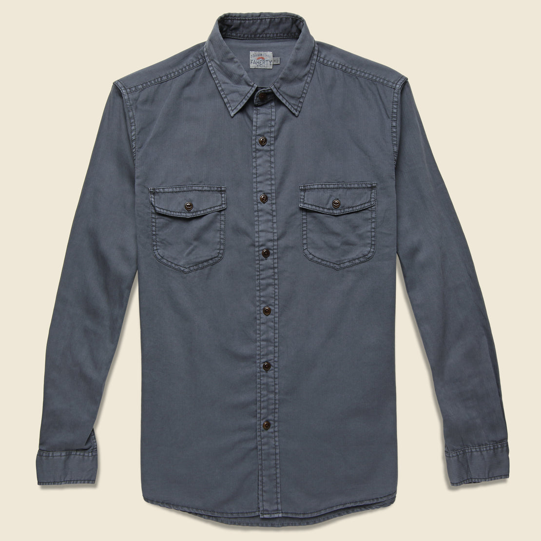 Faherty Washed Chino Shirt - Midnight