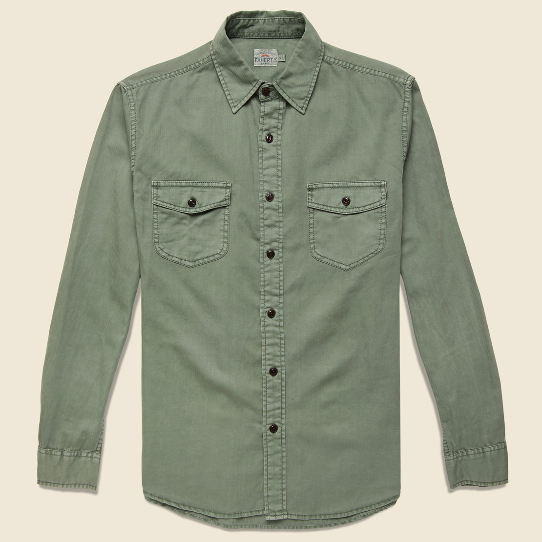 Faherty Washed Chino Shirt - Olive