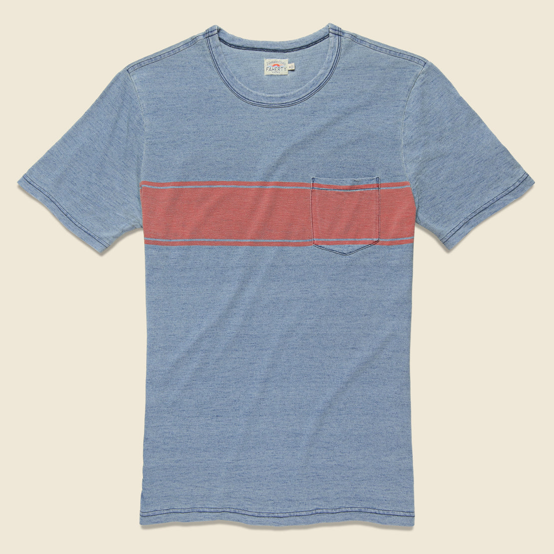 Faherty Surf Stripe Pocket Tee - Blue/Red