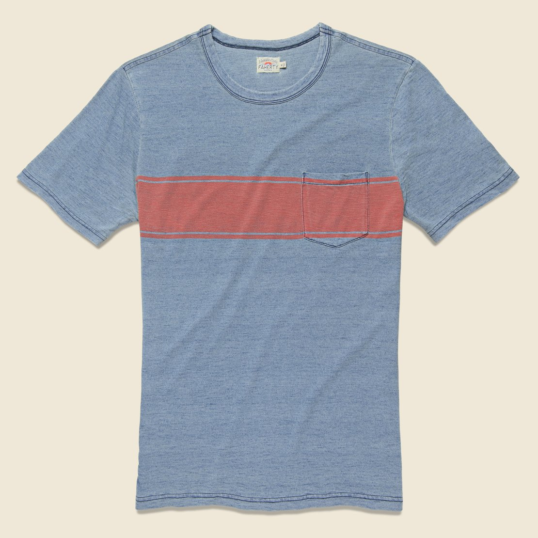 Faherty Surf Stripe Pocket Tee - Vintage Blue