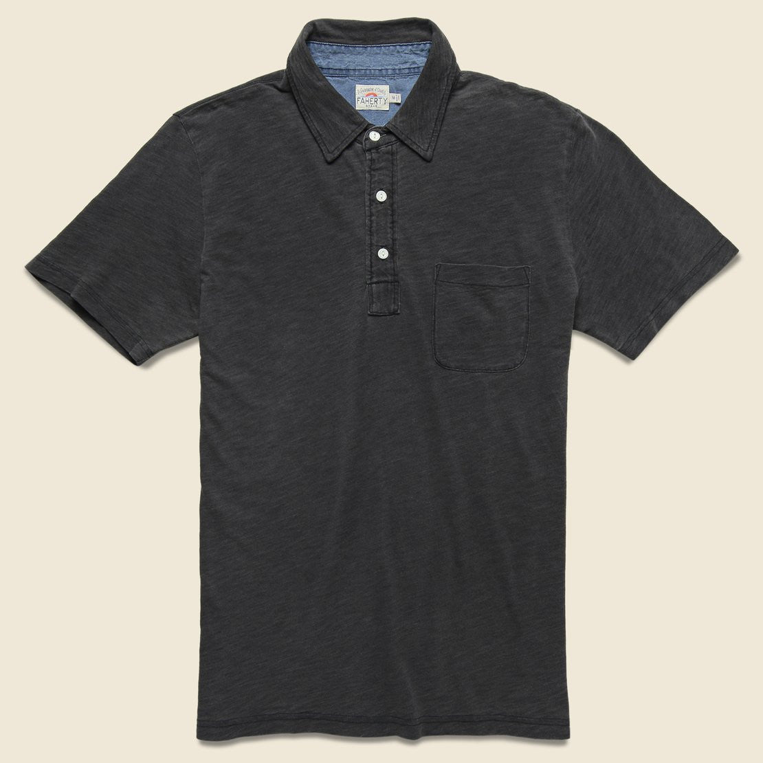 Faherty Indigo Dyed Polo Shirt - Black Wash