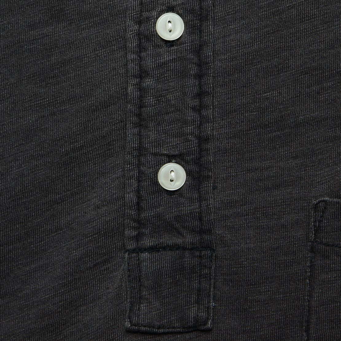 Indigo Dyed Polo Shirt - Black Wash