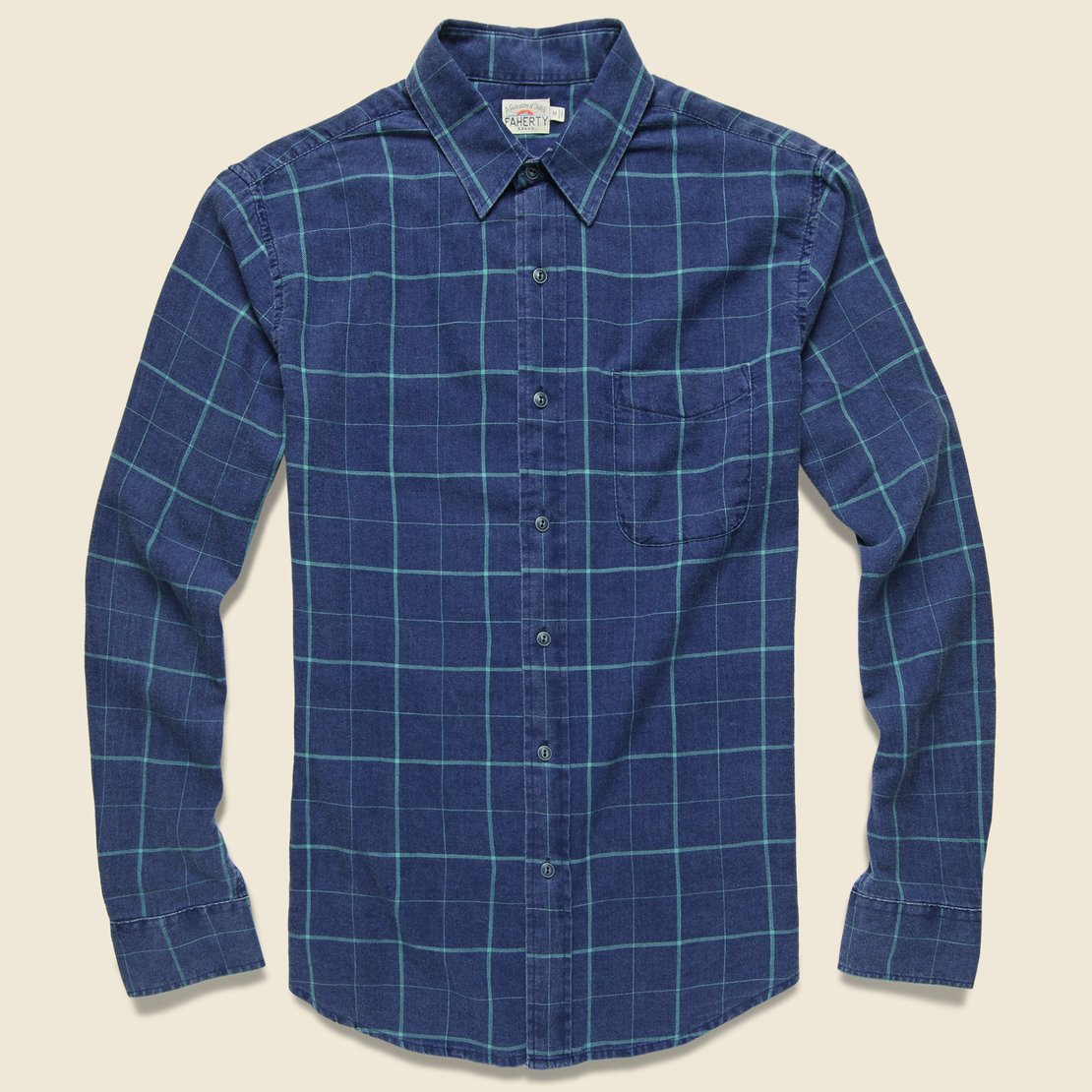 Faherty Windowpane Ventura Shirt - Indigo/Blue