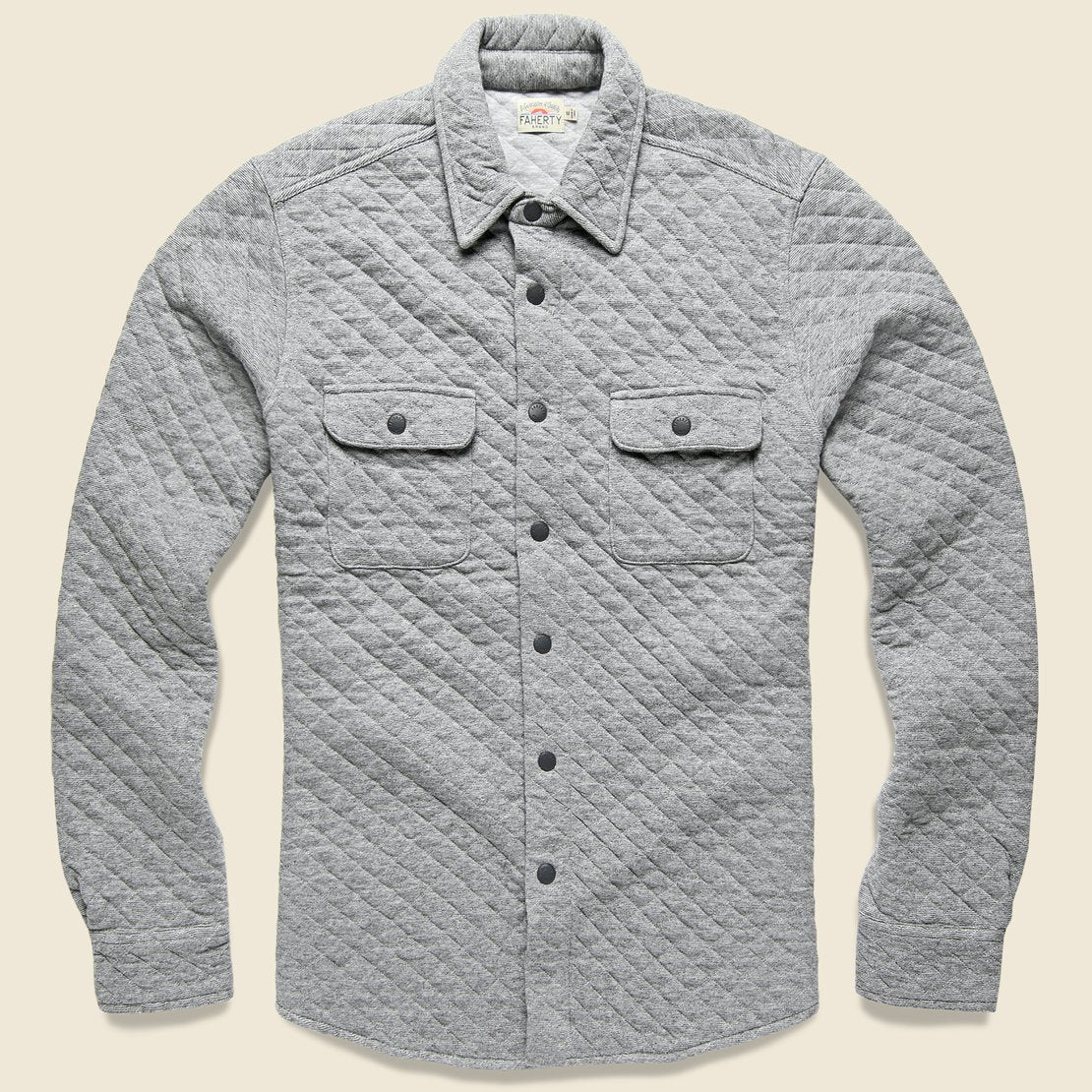 Faherty Quilted Belmar CPO Shirt Jacket - Grey Feeder Stripe
