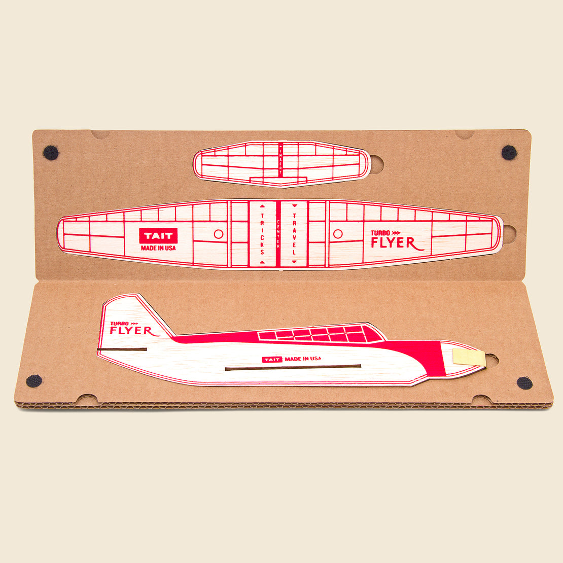 Turbo Flyer Balsa Airplane Kit - Red