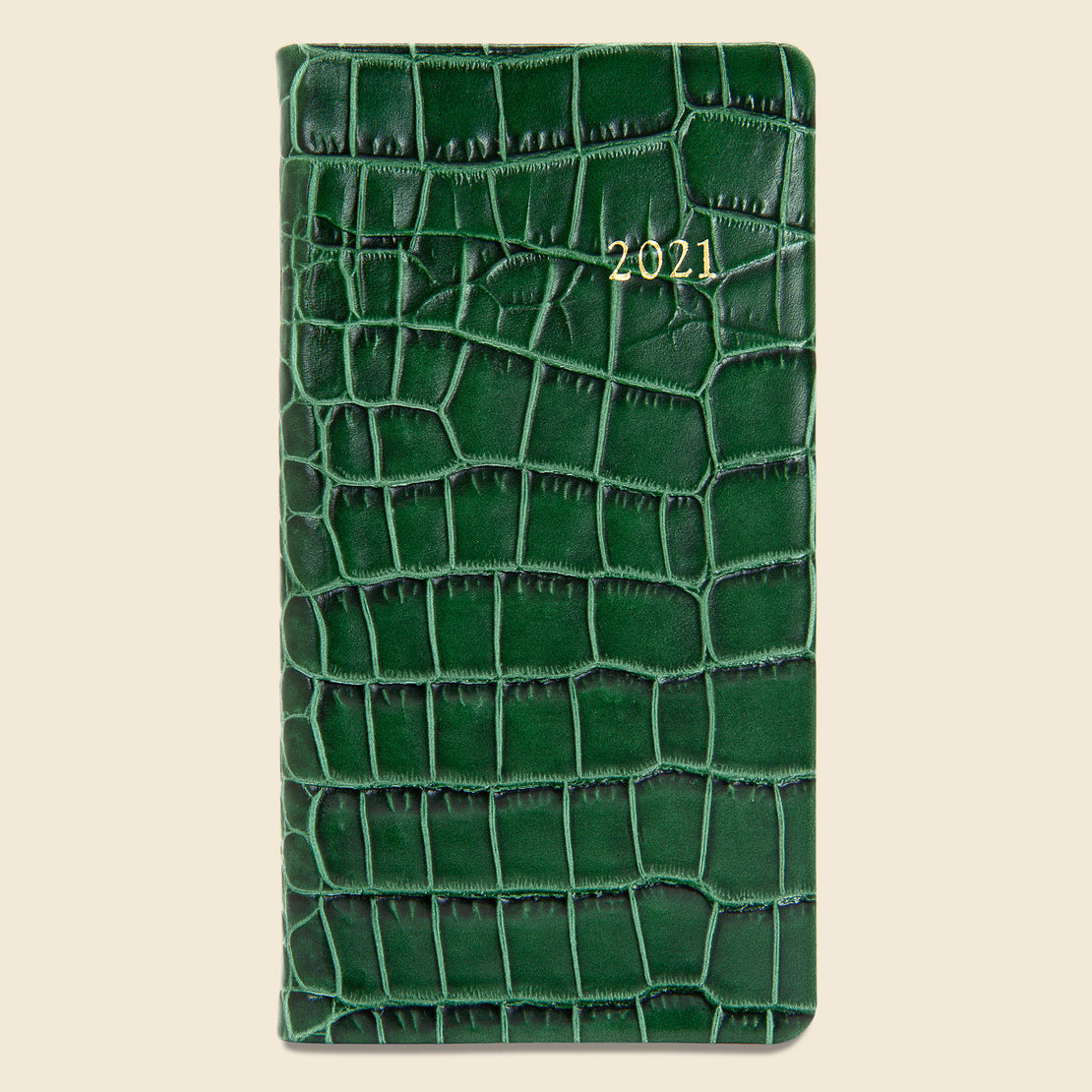 Paper Goods 2021 Embossed Leather Pocket Datebook - Emerald Crocodile