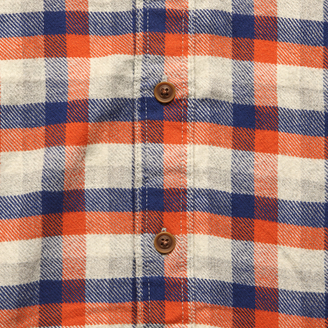 Gingham Heritage Flannel Shirt - Navy/Orange/Grey