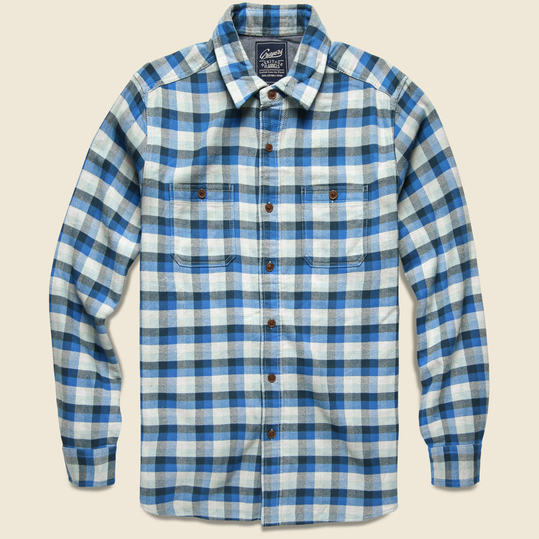 Grayers Gingham Heritage Flannel - Navy/Blue/Grey