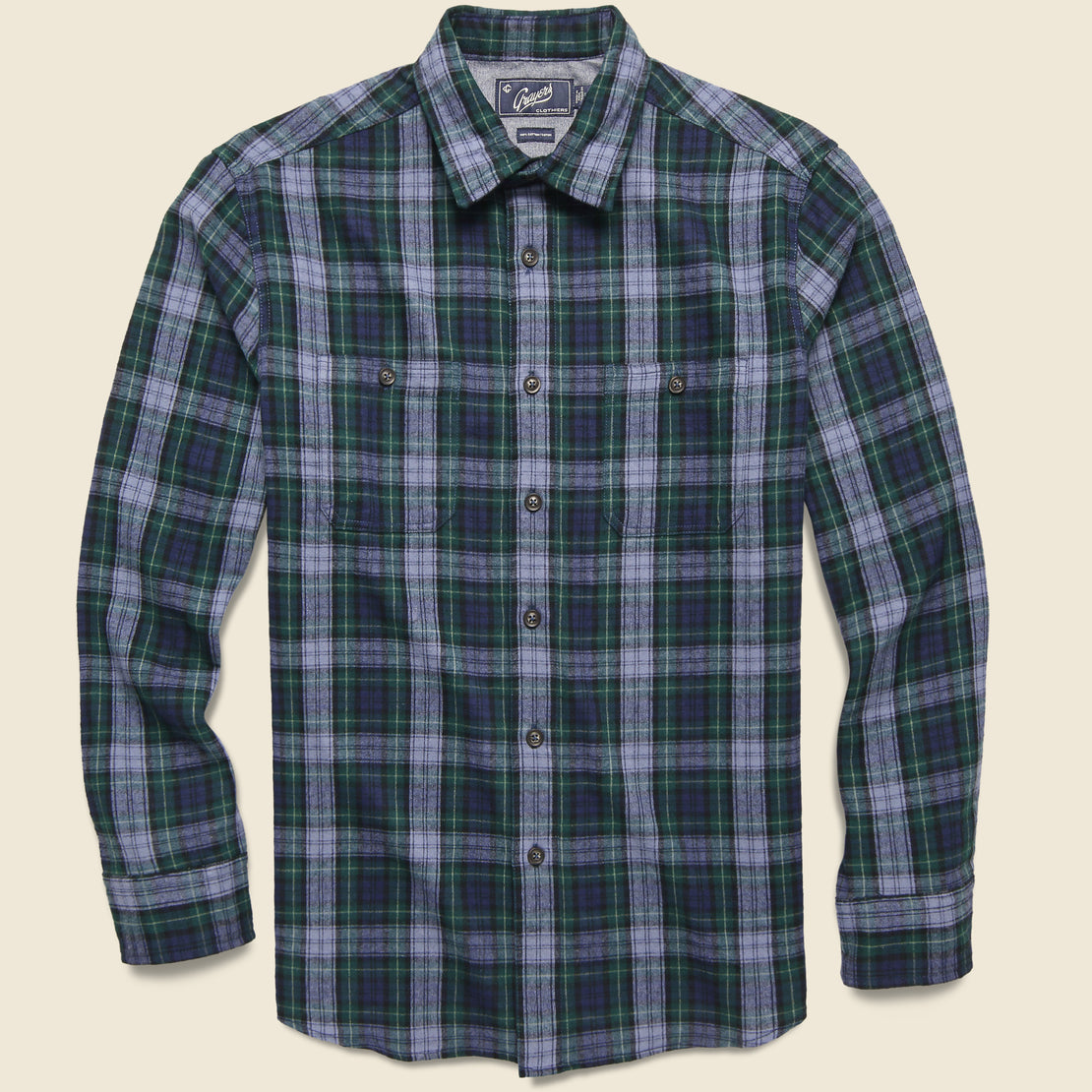 Grayers Rexford Mid-weight Plaid Shirt - Green/Blue