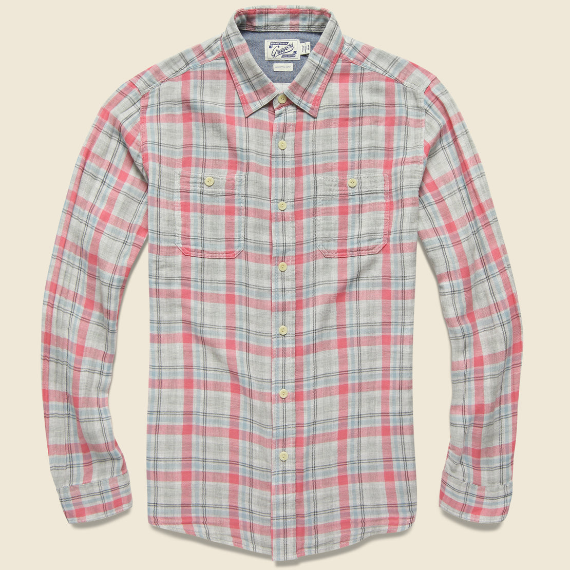 Grayers Mason Double Cloth Shirt - Salmon/Blue/Grey