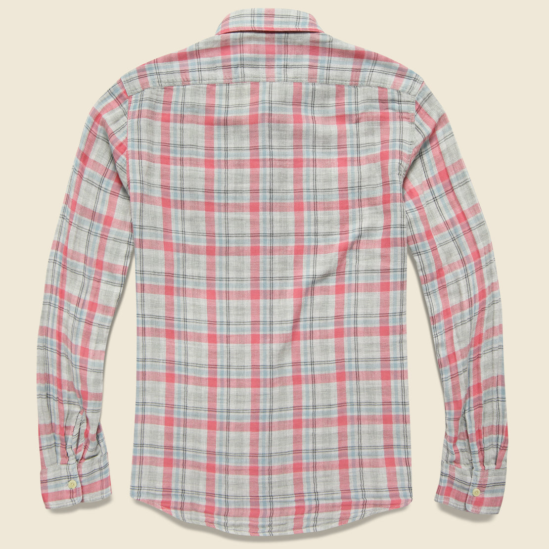 Mason Double Cloth Shirt - Salmon/Blue/Grey