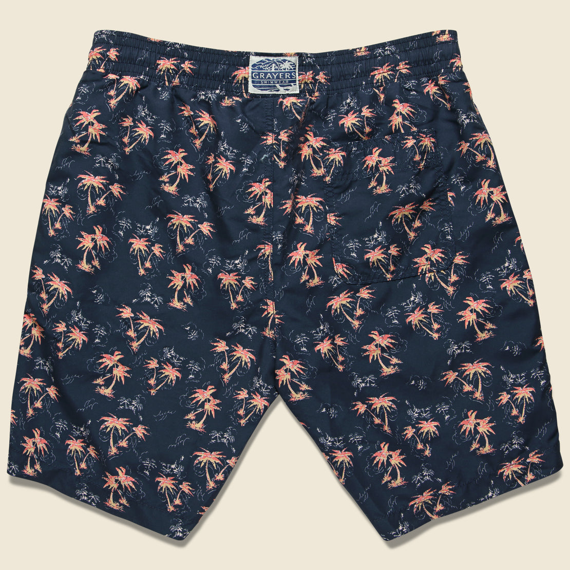 Burning Palm Swim Trunk - Carbon Spice Coral