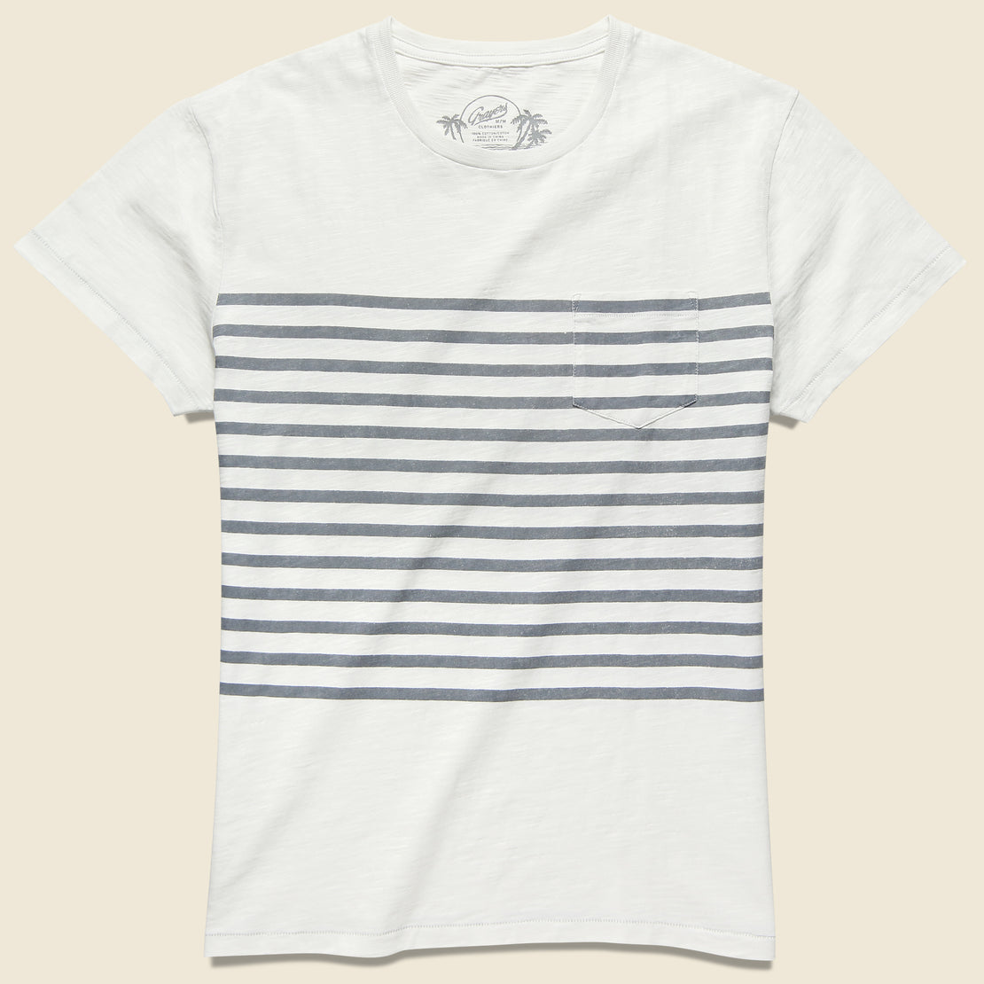 Grayers Admiral Stripe Crew Tee - Bright White