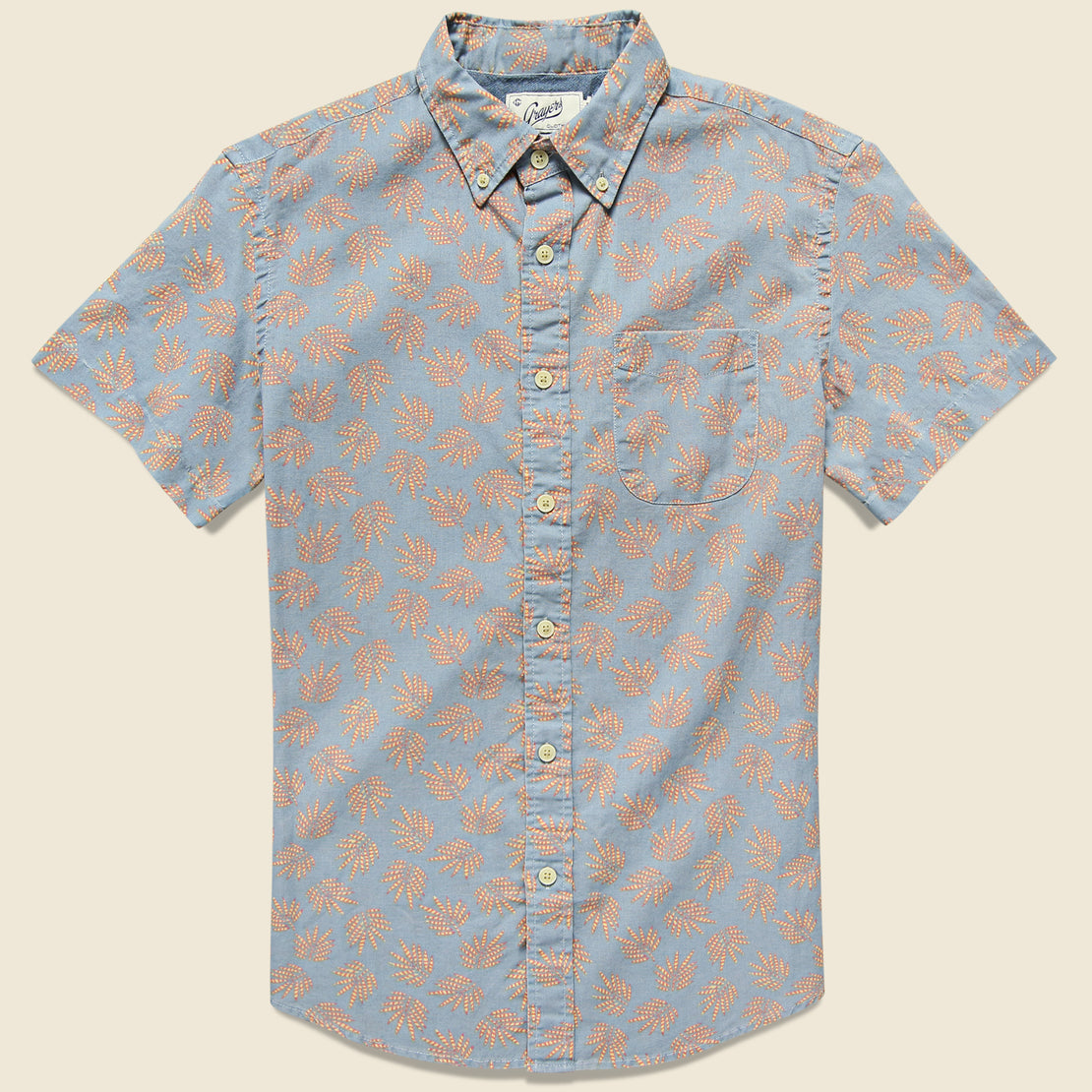 Grayers Palm Leaf Summer Weave Shirt - Red/Blue