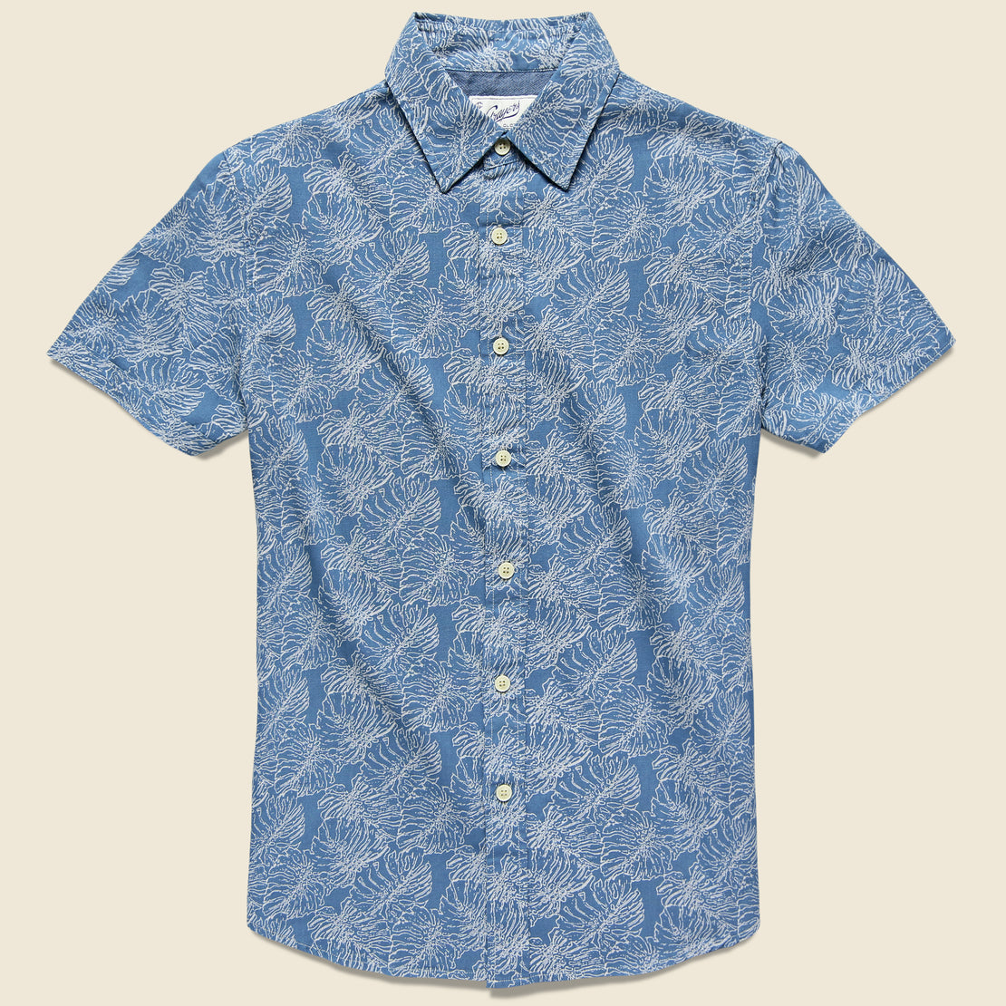 Grayers Leaf Print Summer Weave Shirt - Moonlight Blue