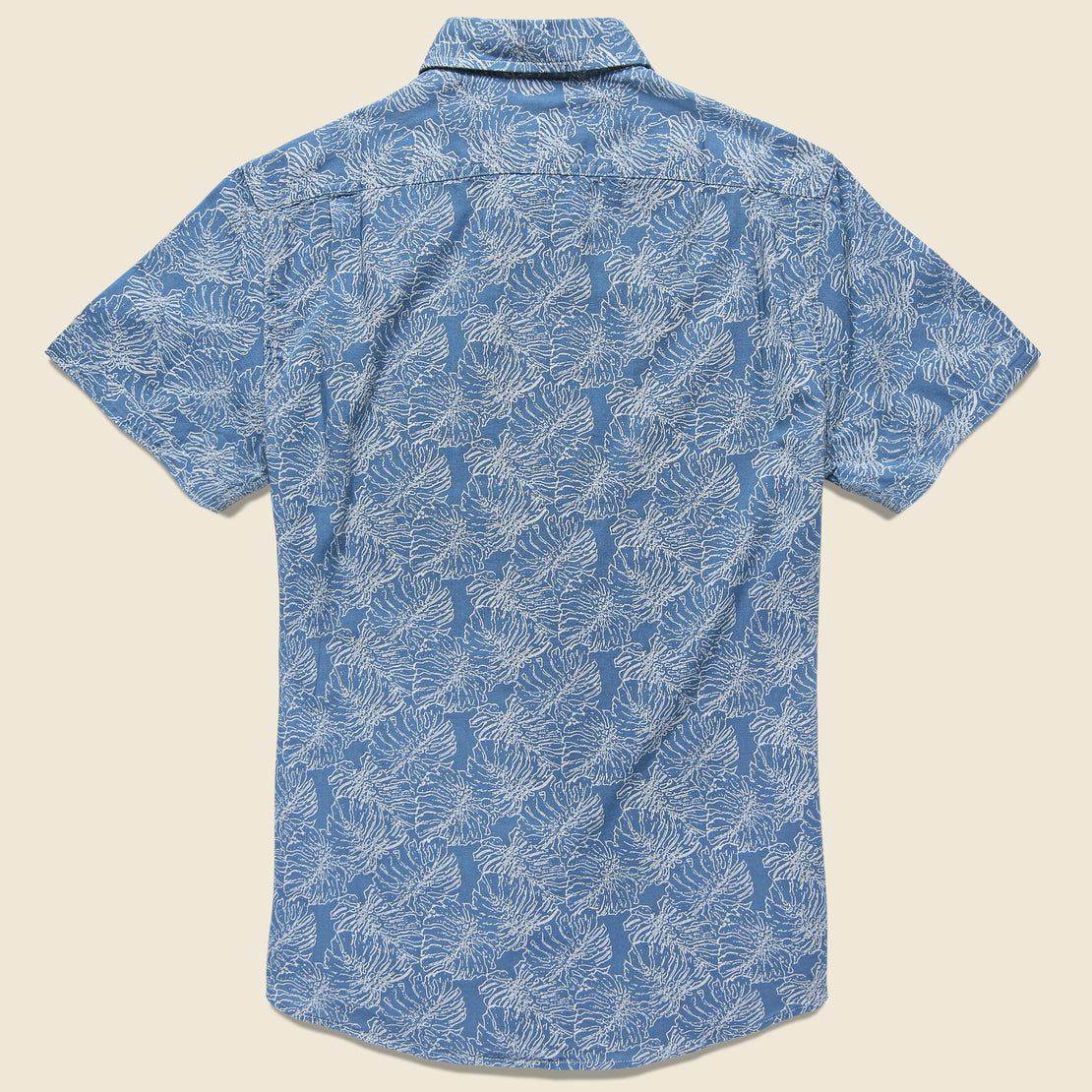 Leaf Print Summer Weave Shirt - Moonlight Blue