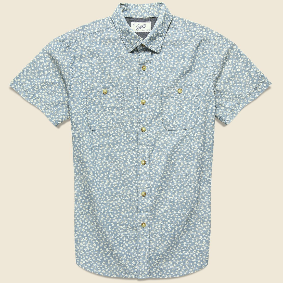 Grayers Drayton Printed Chambray Shirt - Aegean Blue
