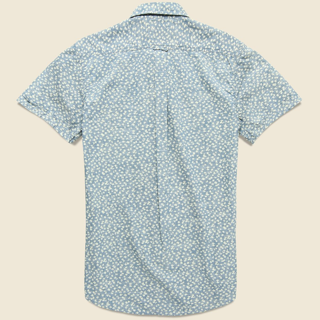 Drayton Printed Chambray Shirt - Aegean Blue