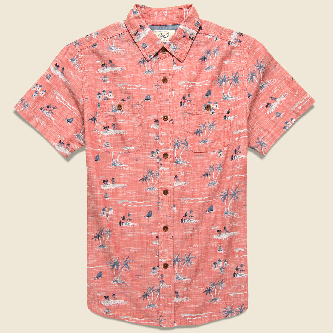 Grayers Giligans Printed Chambray Shirt - Dusty Cedar