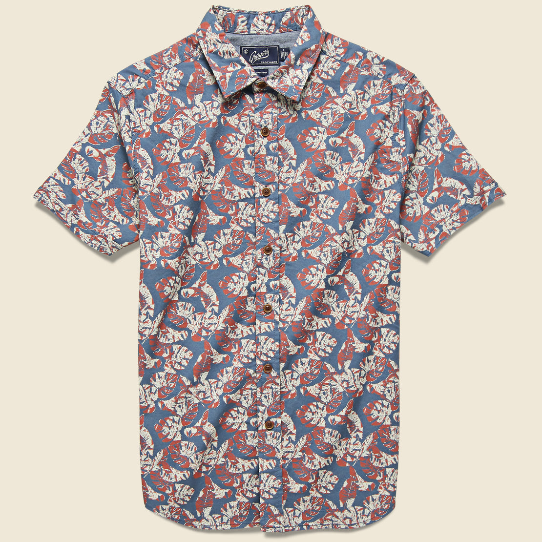 Grayers Floral Printed Gauze Shirt - Faded Navy/Red/Cream