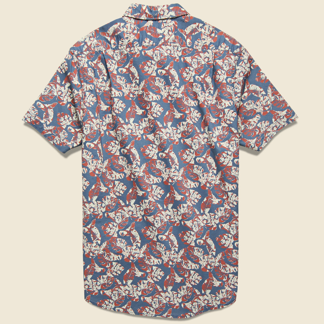 Floral Printed Gauze Shirt - Faded Navy/Red/Cream