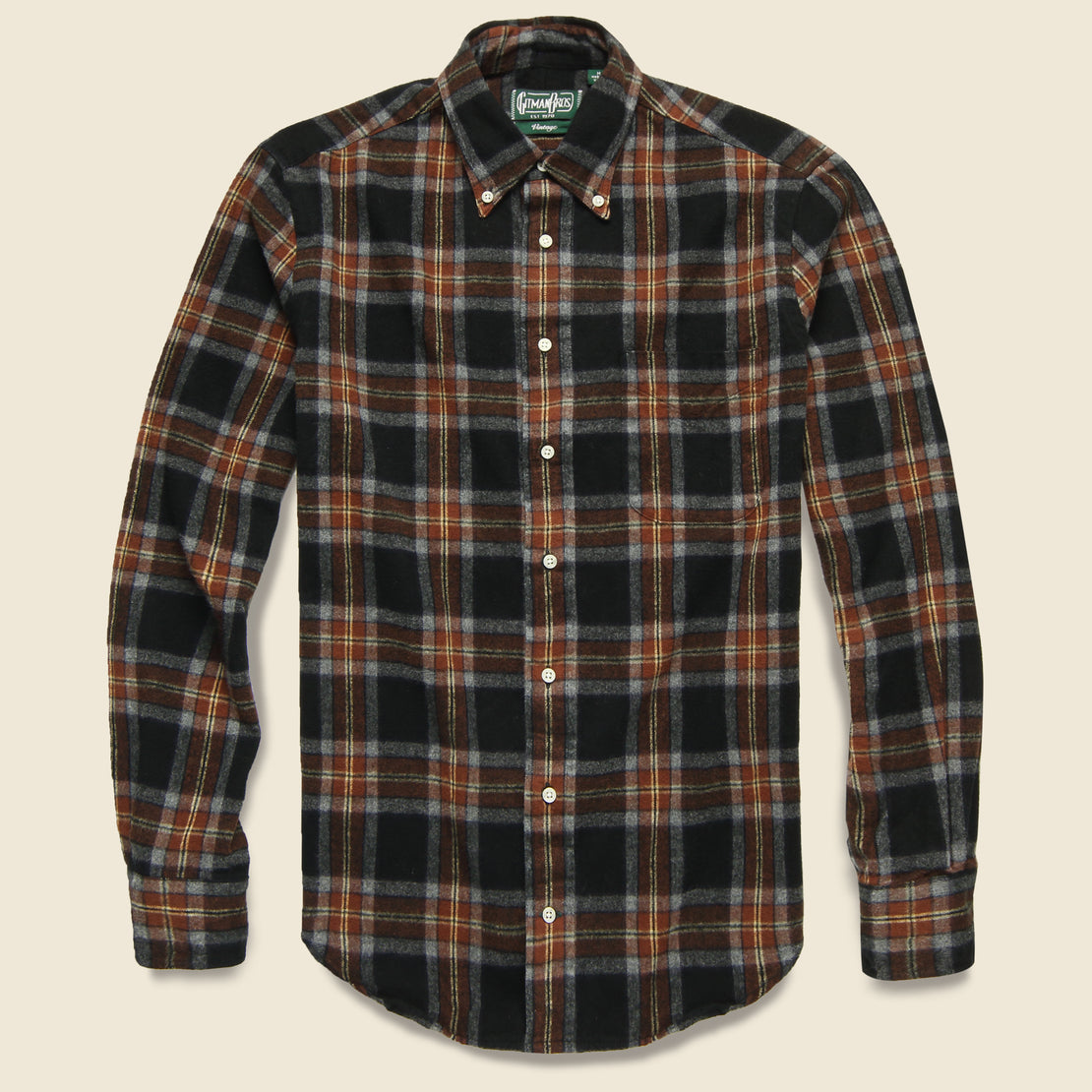 Gitman Vintage Shaggy Brushed Flannel Oxford Shirt - Rust/Black
