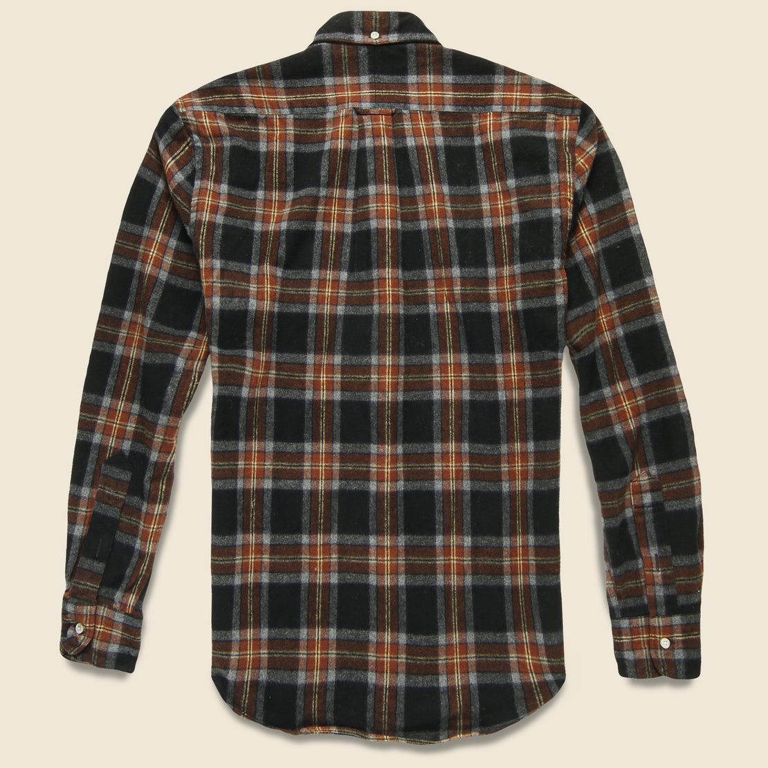 Shaggy Brushed Flannel Oxford Shirt - Rust/Black