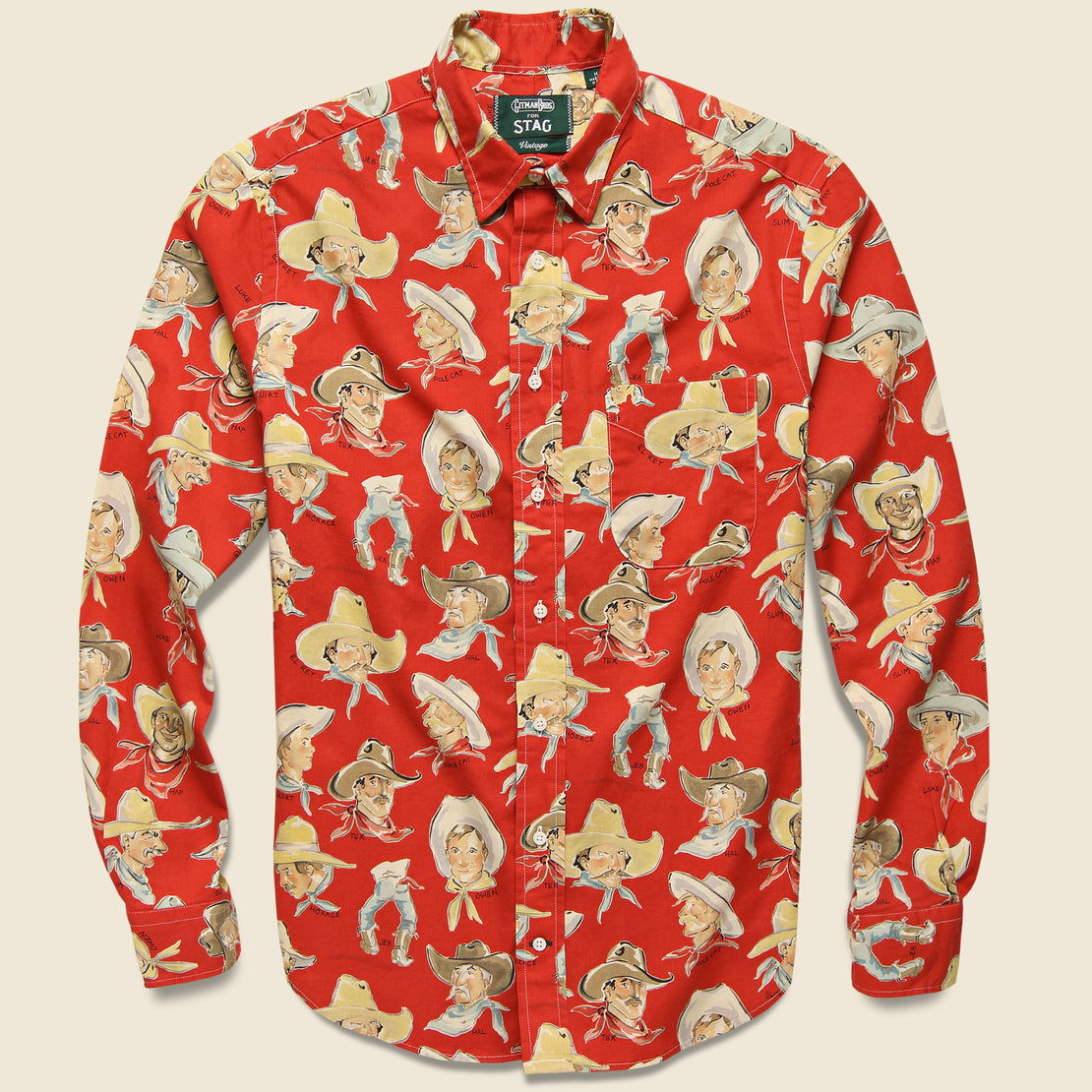 Gitman Vintage Cowboy Print Shirt - Red