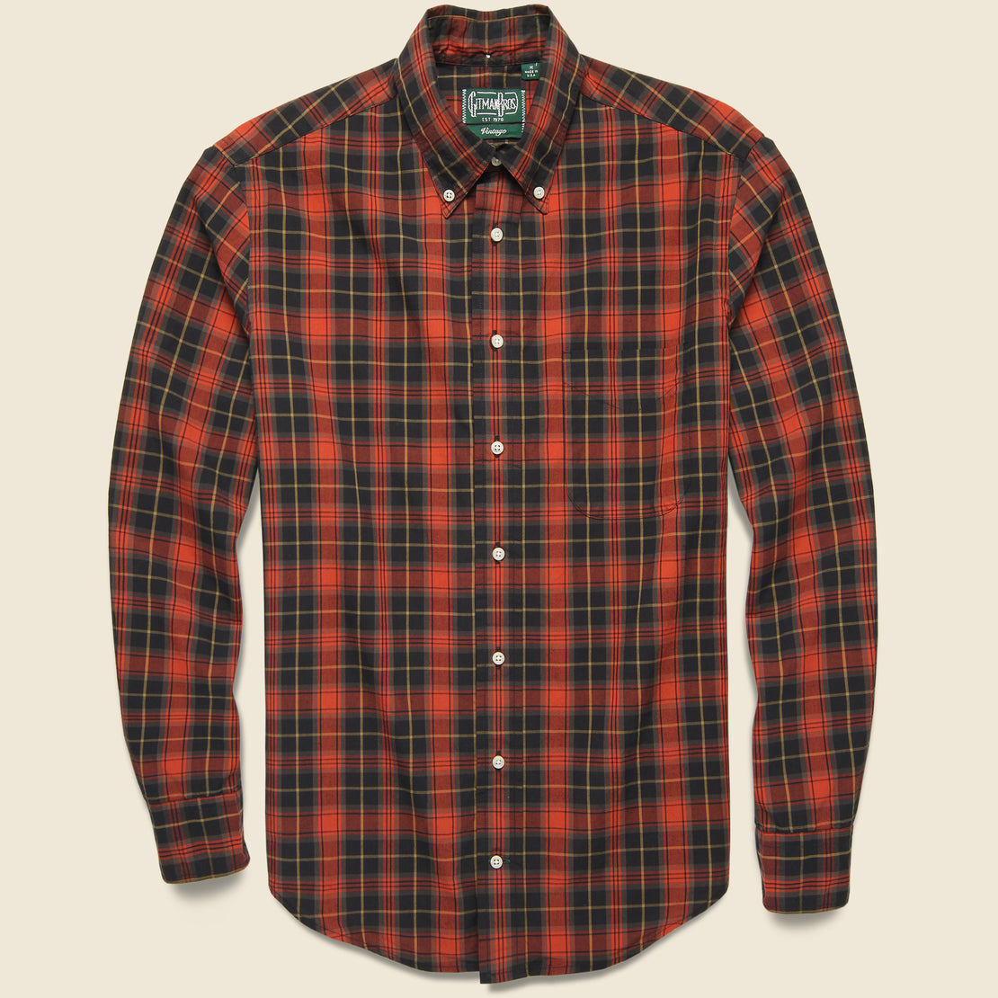 Gitman Vintage Beefy Poplin Shirt - Black/Red