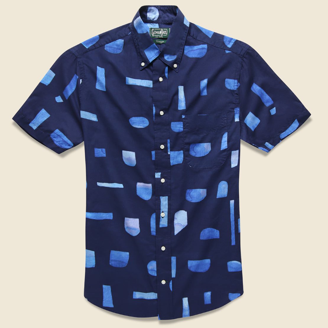 Gitman Vintage Abstract Blues Shirt - Navy/Blue