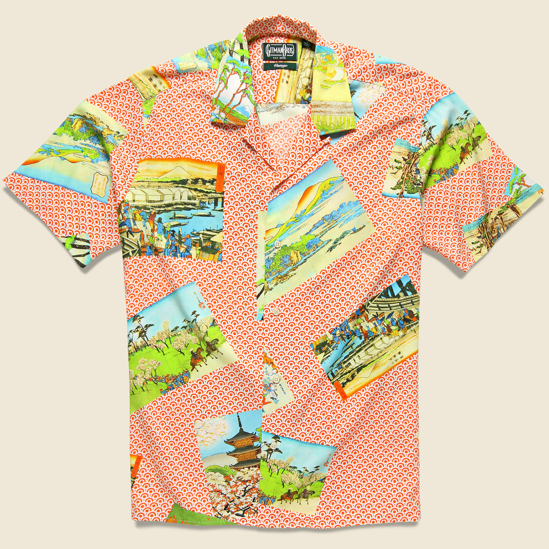 Gitman Vintage Hokusai Shirt - Orange