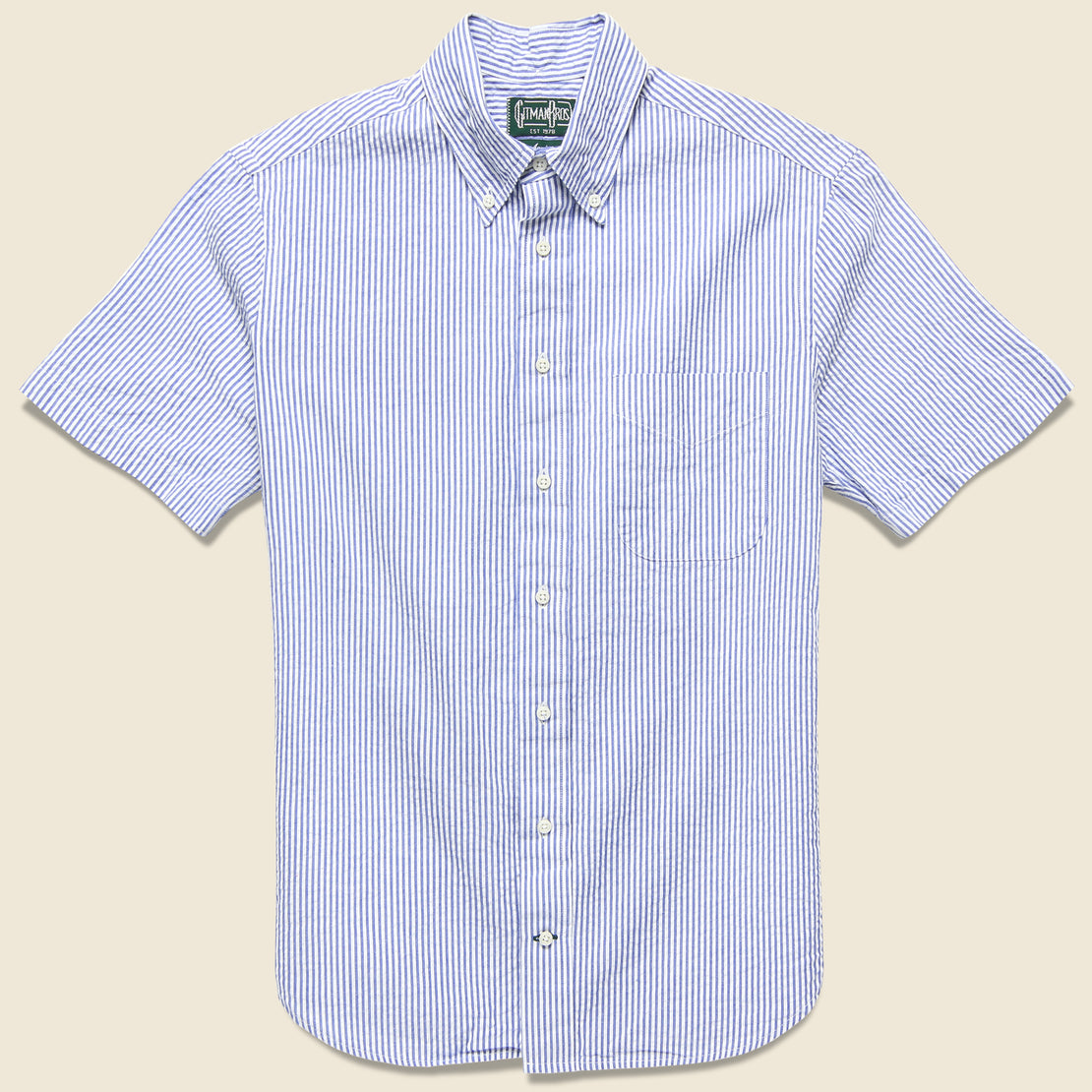Gitman Vintage Seersucker Shirt - Blue/White Stripe