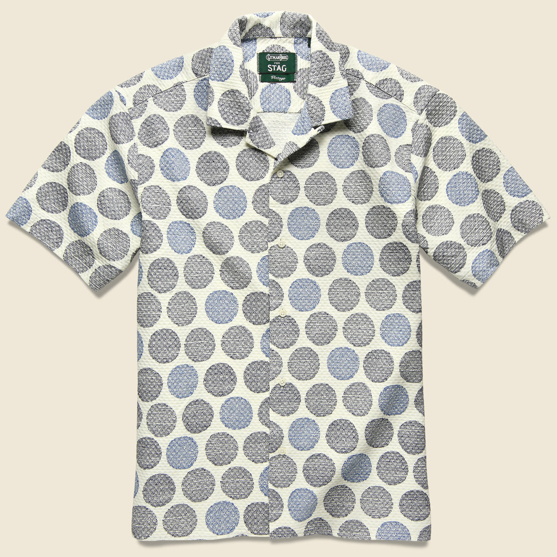 Gitman Vintage Zig Zag Dot Shirt - White/Blue