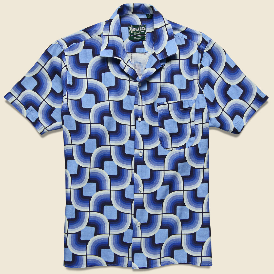 Gitman Vintage Gio Ponti Linen Camp Shirt - Blues