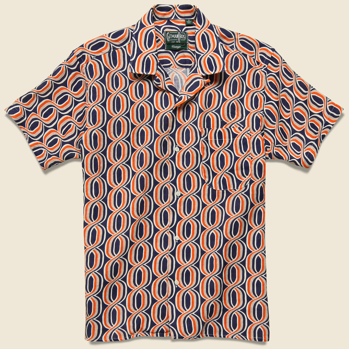 Gitman Vintage Gio Ponti Linen Camp Shirt - Orange/Navy