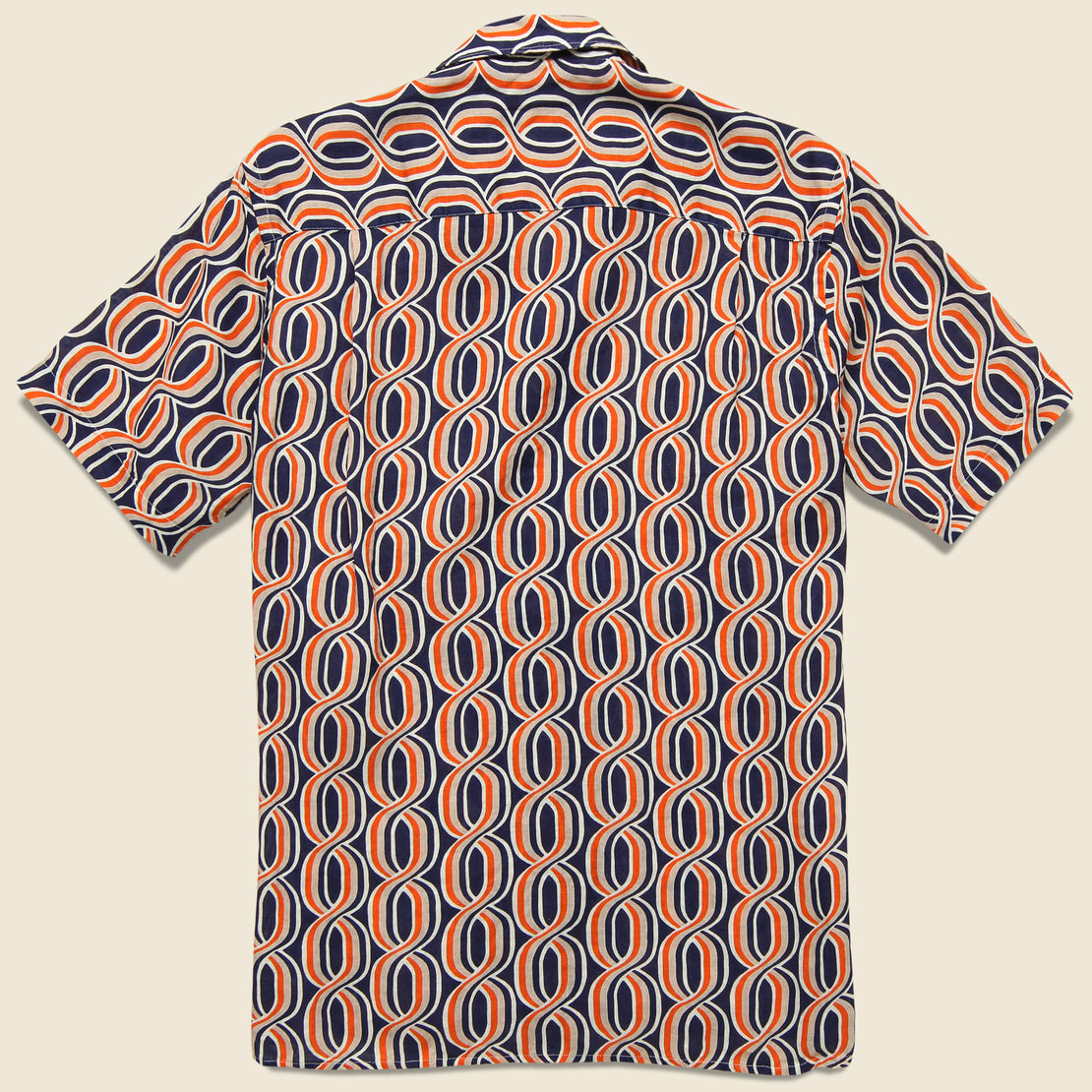 Gio Ponti Linen Camp Shirt - Orange/Navy