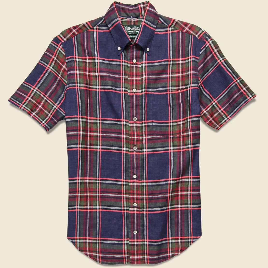 Gitman Vintage Archive Madras Oxford Shirt - Navy