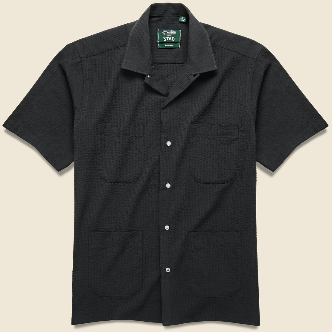 Gitman Vintage Guayabera Seersucker Camp - Black
