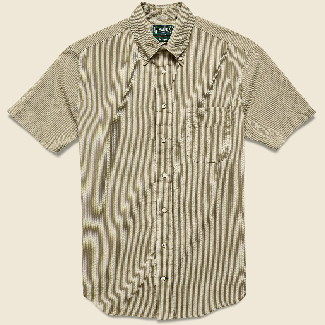 Gitman Vintage Tonal Stripe Seersucker Oxford Shirt - Khaki