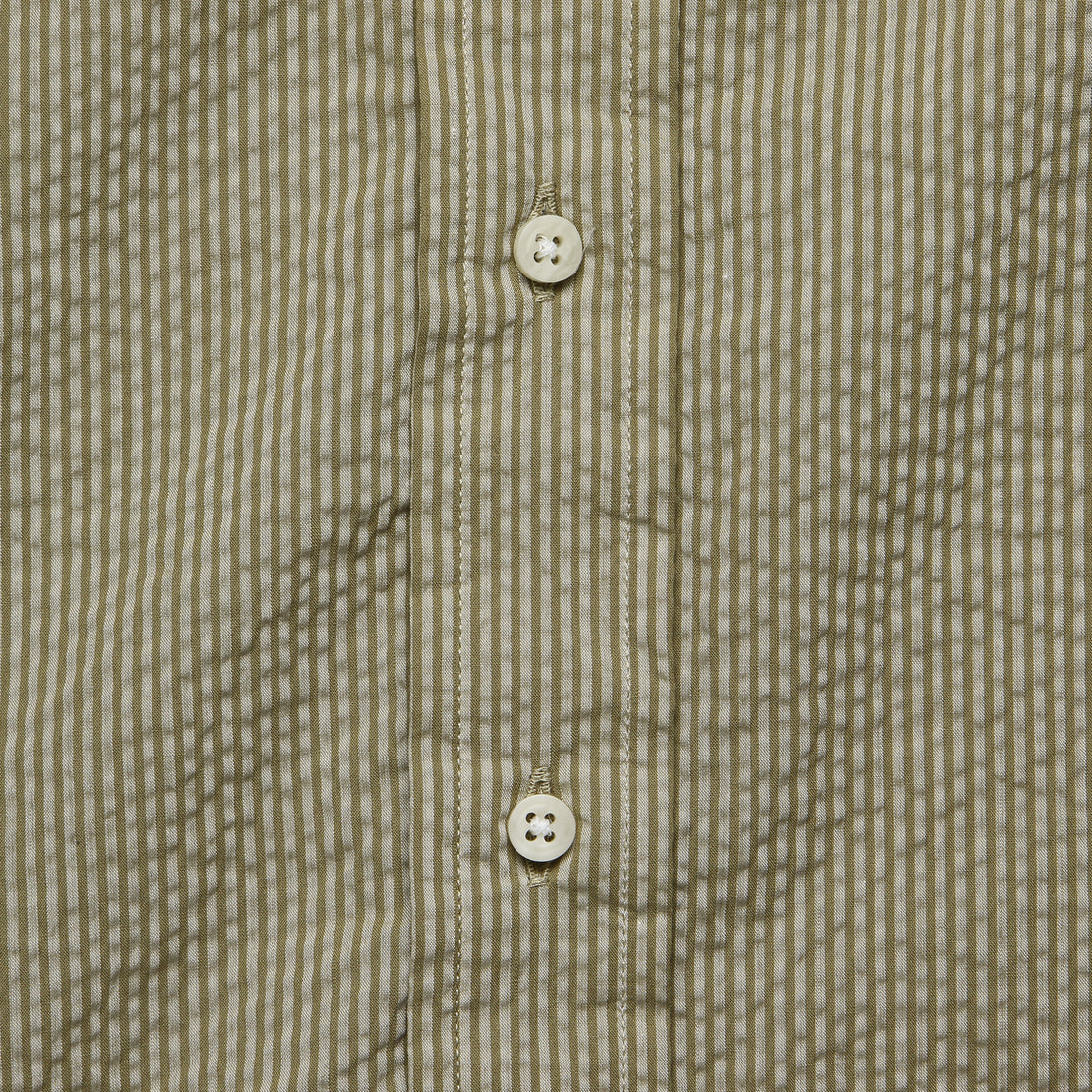 Tonal Stripe Seersucker Oxford Shirt - Khaki